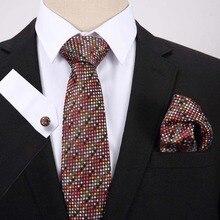 Men's 7.5 CM Silk Necktie Wedding Party Luxury Paisley Dot Neckties Handkerchief Neck Tie Pocket Square Cufflinks Set