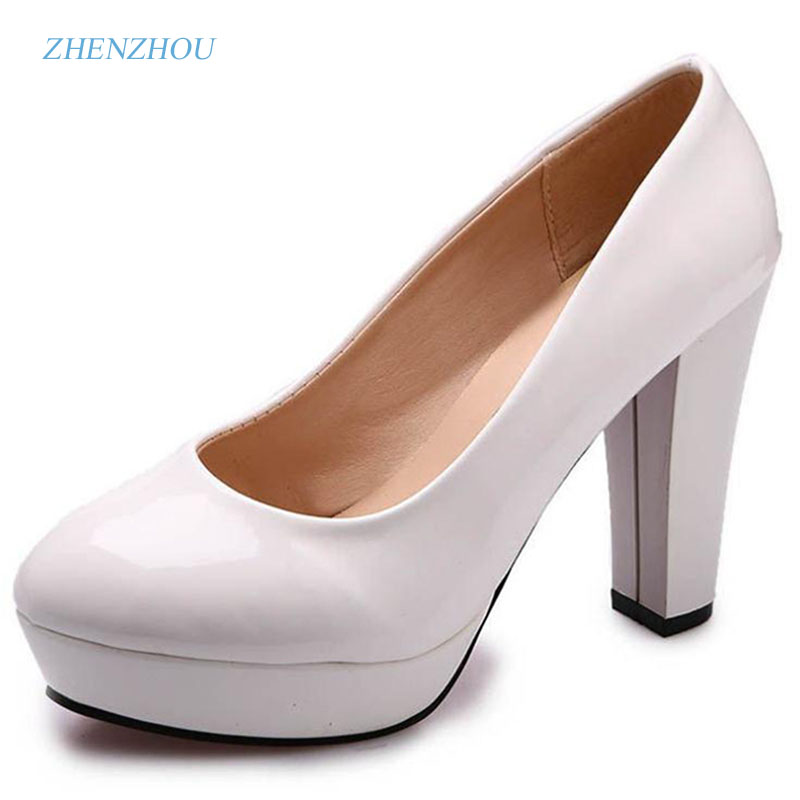 zhen zhou 2017 spring and autumn women's new fashion trend leadership Round head shallow high heel shoe Professional shoes zhen zhou 2017 spring and autumn women s new fashion trend leadership the increased martin boots exemption from postage
