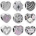 WYBEADS Silver Charm Hearts Clear CZ Daisy Charms European Fit Bracelets & Bangle DIY Accessories Jewelry Original Making