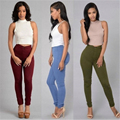Alta Cintura Elástica Calças Mulheres Venda Quente American Apparel Skinny Calças Lápis Moda Calças Vaqueros Mujer