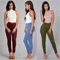 Venta Caliente American Apparel de Cintura alta Pantalones Elásticos de Las Mujeres Flacas Pantalones Lápiz Pantalones Vaqueros Mujer de Moda