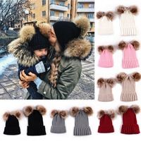 2017 Puseky Fashion Family Match Knit Hat Mother Girl Boy Caps Baby Women Kid Winter Warm
