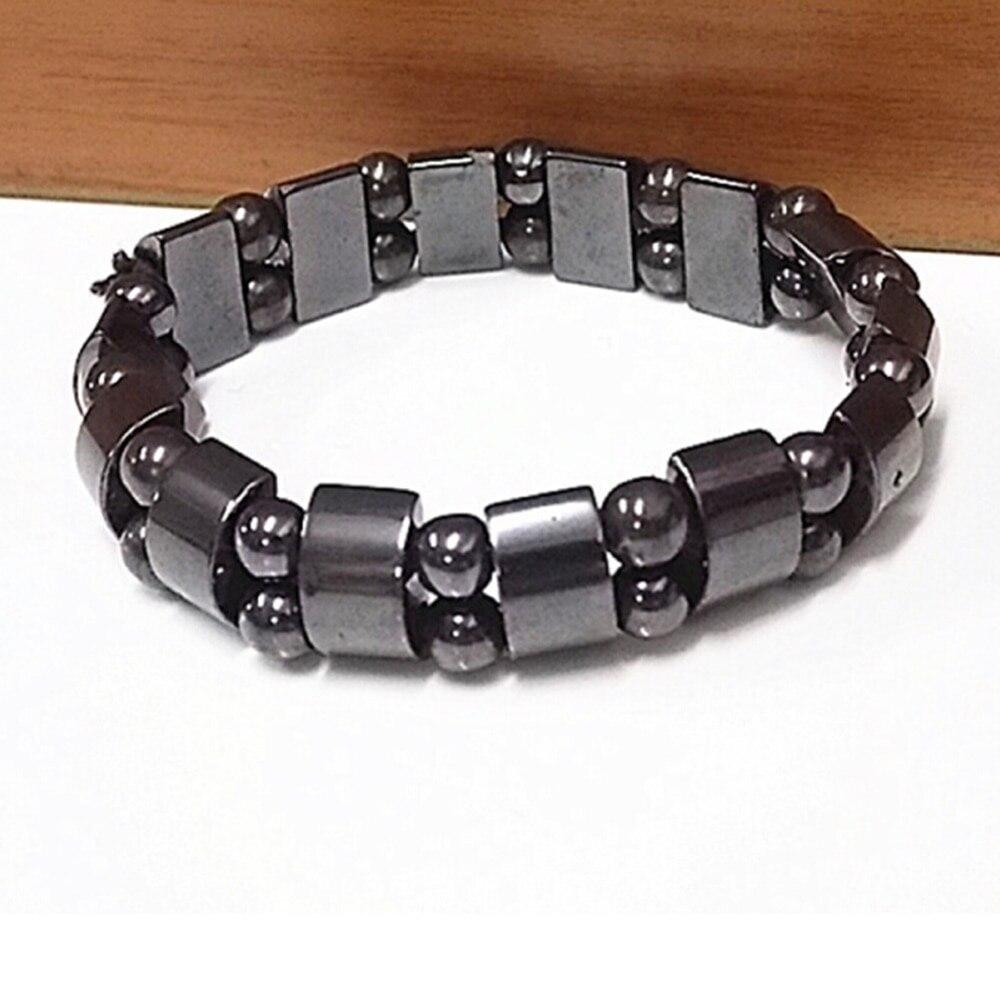 2pcs 15mm Half Moon Magnetic Bracelets Mens Womens Fashion Black Magnet Hematite Healing Loose Beads Bracelet Jewelry