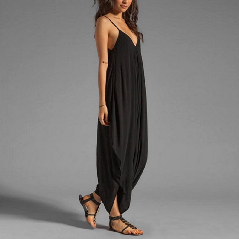 b24c95700832 Women V Neck Loose Baggy Fit Summer Beach Party Jumpsuit Romper Harem Suit  LL2-in Rompers from Women s Clothing on Aliexpress.com