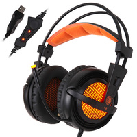 Sades A6 USB 7 1 Surround Sound Stereo Gamer Headset Over Ear Noise Isolating Breathing LED