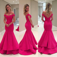 Elegant Fuchsia Mermaid Evening Dresses Off Shoulder Ruched Satin Simple Long Prom Dresses Sexy Backless Evening Wears