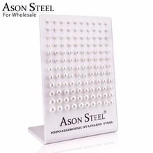 ASONSTEEL 3 8MM Imitation Pearl Gold/Silver Color Push Back Earring Wholesale 60pairs/Card Stainless Steel Dangler Females