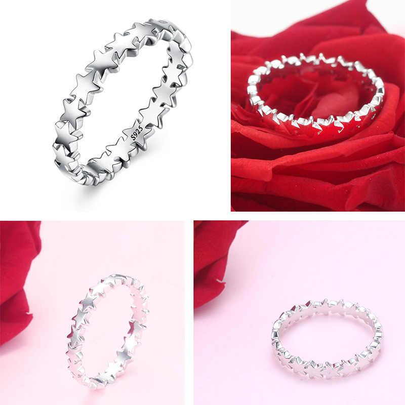 Dainashi ร้อนขาย 925 แหวนเงินแฟชั่นดาวนิ้วที่ซ้อนกันได้วงแหวนของขวัญเครื่องประดับสำหรับคนที่คุณรัก