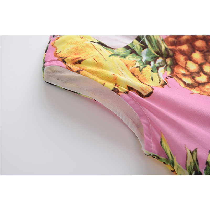 Модное летнее платье для девочек; платье для младенцев с фруктами и ананасами; розовые платья без рукавов для девочек; детская одежда принцессы