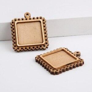 Onwear 10 шт. 25 мм квадратный деревянный кабошон базовая пустая деревянная подвеска, поддон для самостоятельного изготовления ювелирных издели...