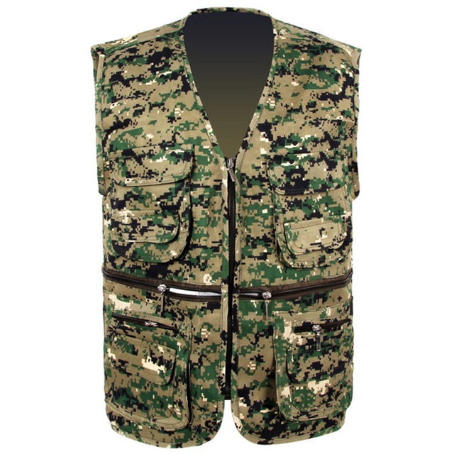 Men's Camo Vest Field Photography Work Mesh Vest SWAT Tactical Military Combat Paintball Multi Pockets Sleeveless Waistcoat