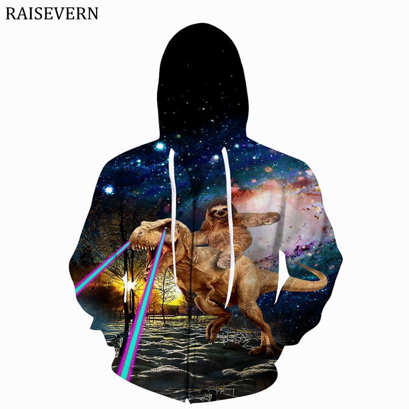 Raisevern динозавров лень Galaxy евро Размеры Для мужчин толстовки 3D принт Кофты на молнии Кепки Топы Для мужчин с капюшоном Туманность куртка