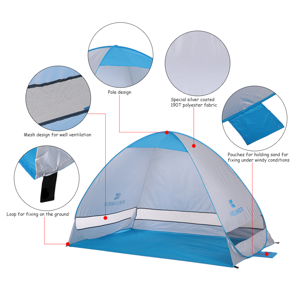 Image 5 - 200*120*130cm Outdoor Automatic Instant Pop up Portable Beach Tent Anti UV Shelter Camping Fishing Hiking Picnic Outdoor Camping-in Tents from Sports & Entertainment