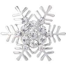 BELLA Christmas Gift Gold Silver Plated Clear Snowflake Rhinestone Brooch Pins Big Round Gems Austrian Crystal
