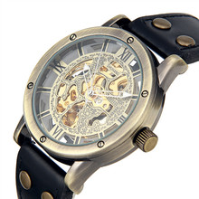 Mens Automatic Mechanical Watch Steampunk Skeleton Dial Black Leather Strape