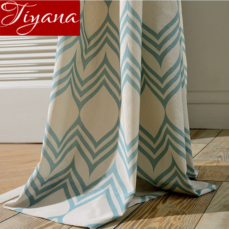 Blue Curtains For Living Room Geometric Tulle Curtain White Window Bedroom Treatment Kitchen Fabrics Sheer Drapes T&104 #30