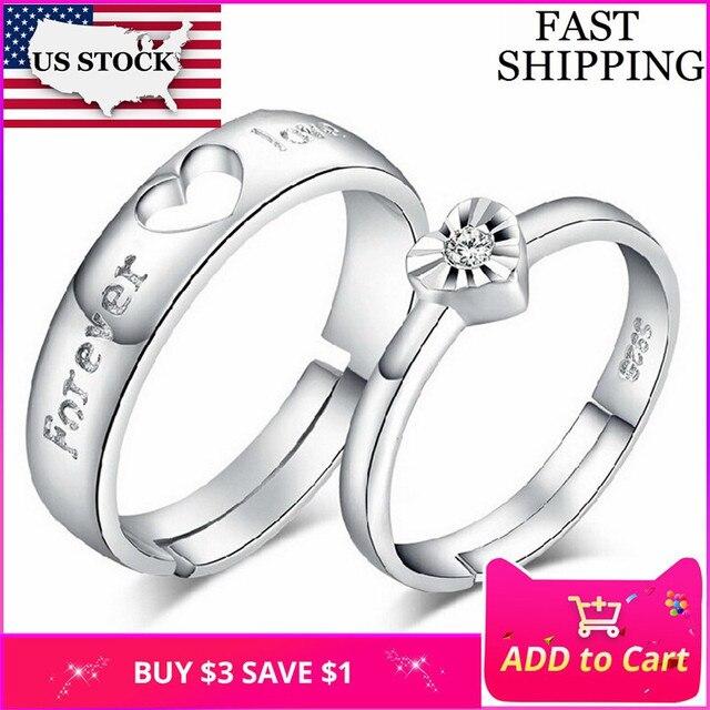 967f72460f42 STOCK 15% ajustable par compromiso anillos para los hombres y las mujeres  anillo de boda
