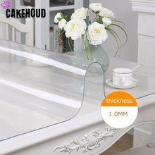 CAKEHOUD Modern PVC Transparent Waterproof Tablecloth Kitchen Table Cover Soft Glass Pattern 1.0mm