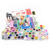 New High Quality Acrylic Powder Liquid Brush Glitter Clipper Primer File Nail Art Tips Tools 28 in 1 Set H7JP