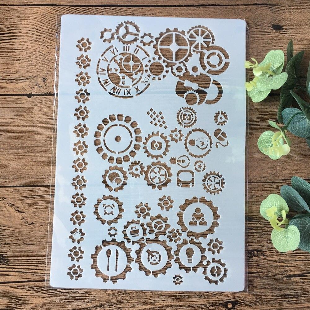 A4 Gear Wheel DIY Layering Stencils Painting Scrapbook Coloring Embossing Album Decorative Paper Card Template