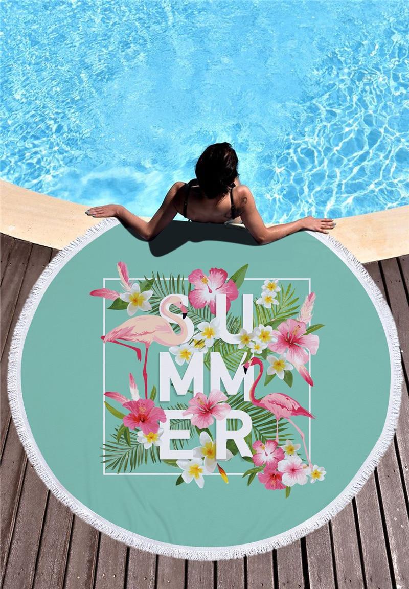 HTB1eD1qSXXXXXcsXpXXq6xXFXXXR - Round Style Microfiber Beach Towel - Flamingo With Tassels Design