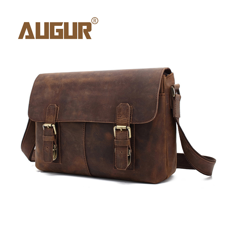 AUGUR 2018 Male Genuine Leather Bag Business Briefcase Shoulder Messenger Bags Men Designer Luxury Cowhide Crossbody Travel Bag augur men s messenger bag multifunction canvas leather crossbody bag men military army vintage large shoulder bag travel bags