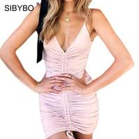 Sibybo Spaghetti Strap Backless Pieghettato Donne del Vestito Da Estate Sleeveless del V-collo Del Fodero Mini Vestito Sexy Backless Beach Vestito Casuale