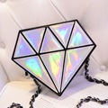 Small Mini Women's Leather Messenger Crossbody bags Diamond Shape Shoulder Bag hologram Chain Handbag Purse Clutch Bolsa