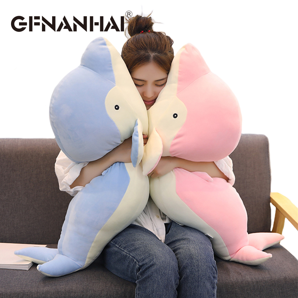 50 70cm Big Size Cute Dolphin Plush Toy Stuffed Soft Down Cotton