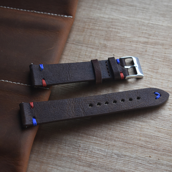 Onthelevel 18mm 20mm 22mm Watch Leather Strap Handmade Vintage Stitching Red Blue Line Genuine Leather Watch Band #D onthelevel handmade strap vintage leather mens watch band dark red w minimal hand stitching stainless steel buckle high quality