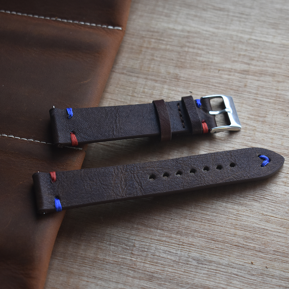 Onthelevel 18mm 20mm 22mm <font><b>Watch</b></font> Leather Strap Handmade Vintage Stitching Red Blue Line Genuine Leather <font><b>Watch</b></font> Band #D image