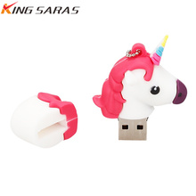 usb flash drive 4GB 8GB 16GB 32GB 64GB 128GB flash drive Cartoon usb disk 2.0 white Unicorn memoria cle usb free delivery