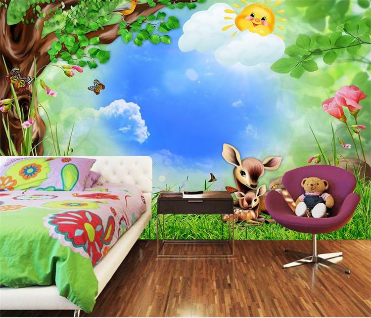 custom Photo wallpaper roll Cartoon forest animals children 39 s room mural backdrop 3d wallpapers kids stickers wall murals in Wallpapers from Home Improvement