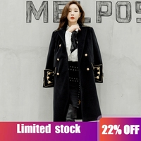 Double Breasted Military Army Mink Wool Coat British Style Designer Work Business Blends Korean Coat Outwear Winter Women Coats