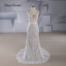 Rosabridal Mermaid Wedding Dress 2019 new Spaghetti Straps Lace Appliques Beading open back Trumpet Bridal Gown With Sash