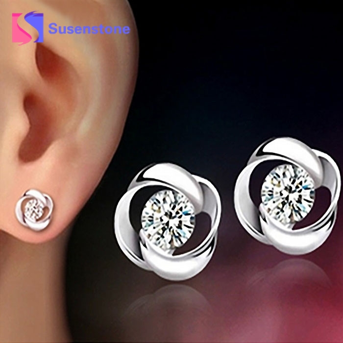 1pair Beautiful Silvering Crystal Shiny Ear Stud Earrings For Women New Girls Silver Plated Jewelry Ear Studs Brincos Bijoux Jewelry & Accessories