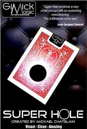 SUPER HOLE by Mickael Chatelain (Gimmick+online instruct) Close up magic tricks,illusion,card magic,fun,street,bar trick