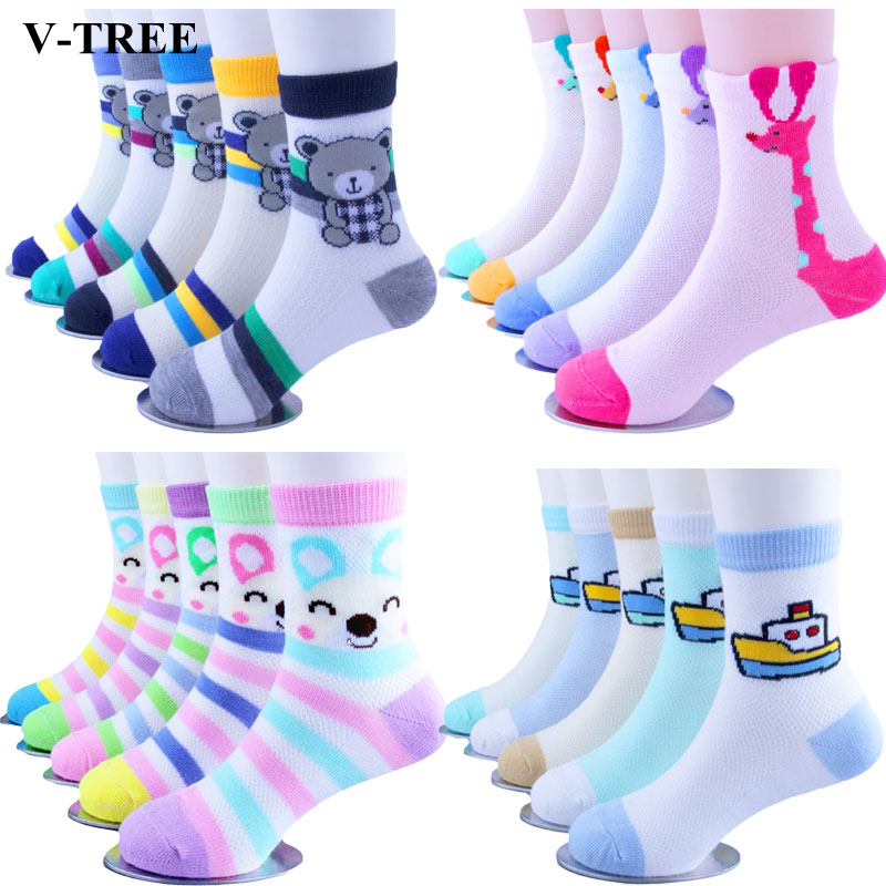Children Socks Cartoon Socks For Kids 5pieces/lot Girls School Socks 1-9T Teenager Stuff Soft Boys Socks Toddler Knee Clothing