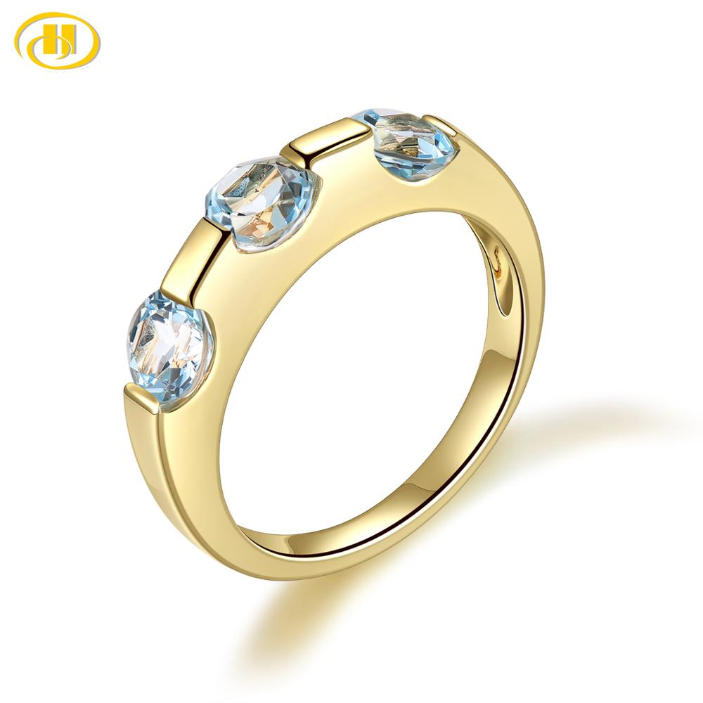Women's Ring 1.77ct Natural Gemstone Blue Topaz Yellow Gold Plated Solid 925 Sterling Silver Rings Fine Jewelry Gift