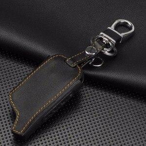 Image 4 - Jingyuqin 4 Knoppen Leather Key Cover Case X5 Voor Russische Versie Voertuig Security Twee Weg Auto Alarm Systeem Tomahawk X5 sleutelhanger