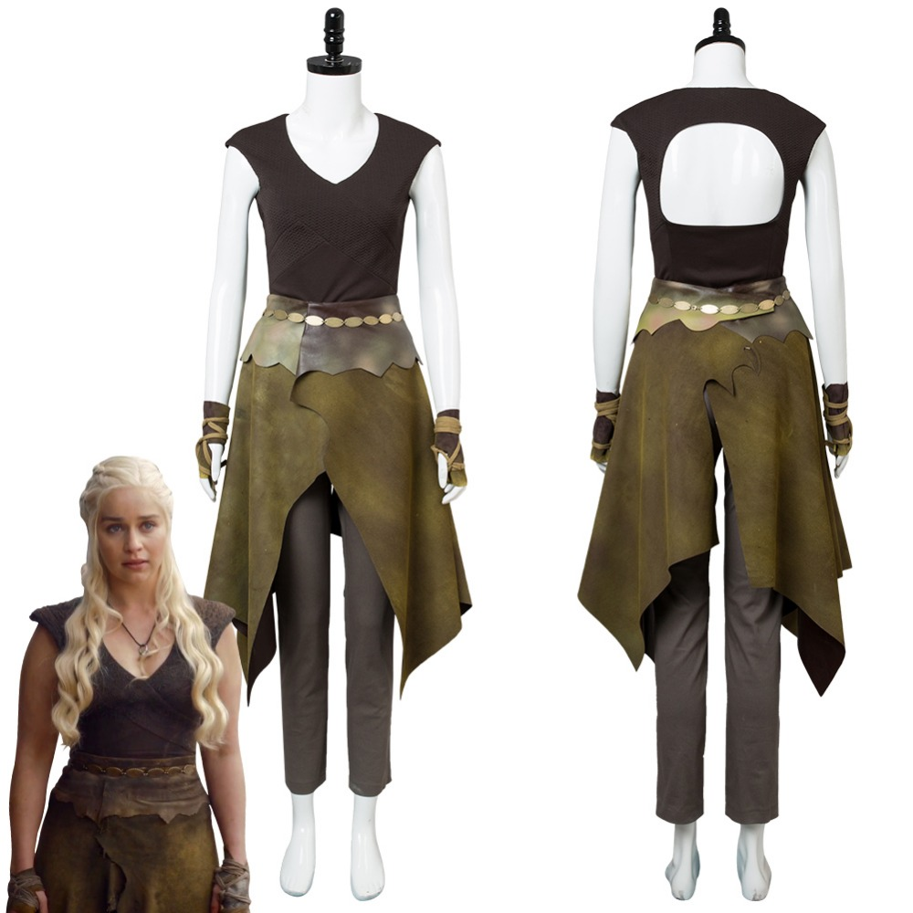 GOT Game of Thrones Season 6 Daenerys Targaryen Dress Cosplay Costume Dany Indigenous Outfit