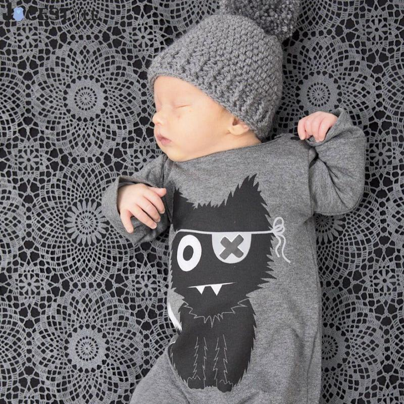 New 2018 Fashion Baby Boy Clothes Long Sleeve Baby Romper Newborn Cotton Baby Girl Jumpsuit Little Monster Infant Clothing newborn baby infant boy girl fashion romper hooded jumpsuit bodysuit outfits clothes