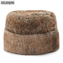 SILOQIN Mens Winter Warm Hat Imitation Hair Thickened Bomber Hats Middle-aged Men Flat Cap Dad Multi-colored Caps