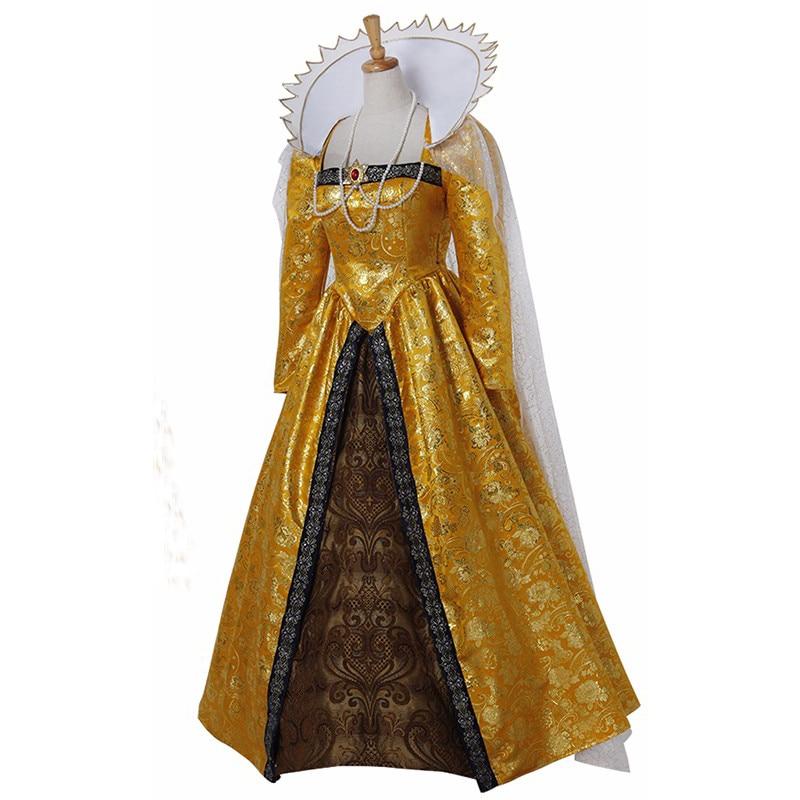 Custom Made Queen Elizabeth Cosplay Costume Dress Adult Women Wedding Dress Carnival Halloween Costume D0331
