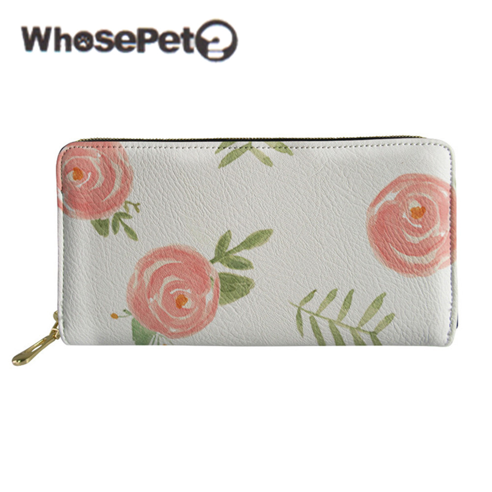 WHOSEPET Women Wallet Long Style Lady Purse With Zipper Female Clutch Bags Floral Printed Money Bag Coin Purse PU Leather Wallet
