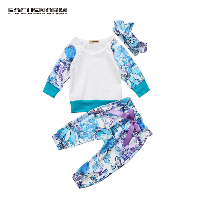 New Casual Kids Newborn Baby Girl Clothes Set T-shirt Floral Clothes Leggings Long Pants Outfits 0-24M