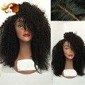 150% Плотность Виргинский Бразильский Полные Парики Шнурка Kinky Afro Вьющиеся Бесклеевой Фронта шнурка Человеческих Волос Парики С Волосами Младенца Для Чернокожих Женщин