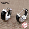BALMORA Black Agate 100% Real 925 Pure Sterling Silver Jewelry Fashion Clip Earrings for Women Lover Party Gifts Bijoux MN30453