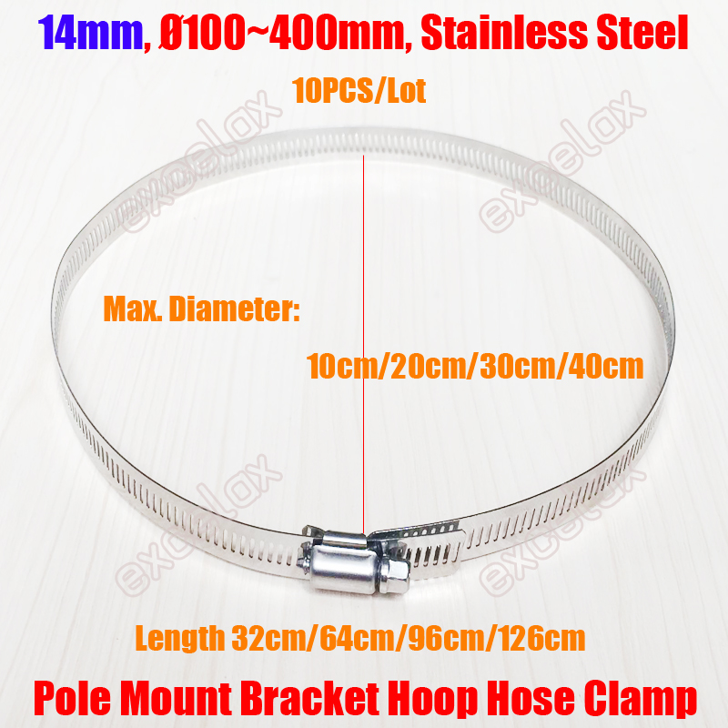 Stainless Steel Dia 300mm Hoop Hose Clamp Pole Bracket For CCTV Camera
