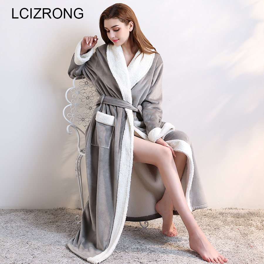 Winter Warm Thick Ankle Length Robes Women Extra Long Sexy Flannel Dressing Gown Autumn Soft Long